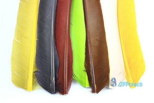 火雞飛羽 (黃綠, 紫, 酒紅, 綠, 深褐, 白, 黃)